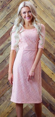 Alaina Dress - Peachy Pink lace dress, can be accessorized with a belt or worn alone - cute, feminine modest dress and perfect for dressing up!