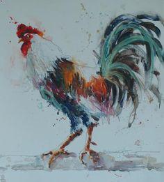 Bev Jozwiak Watercolor Bird, Watercolor Animals, Watercolor Paintings, Rooster Painting, Rooster Art, Chicken Painting, Chicken Art, Galaxy Drawings, Bird Pictures