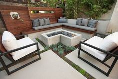 small garden ideas original patio firepit corner bench wooden fence succulents