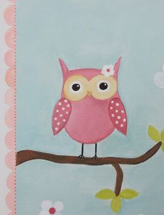 Pink Owl Decor Acrylic Painting Baby Shower by emugallery… Name Paintings, Nursery Paintings, Kids Canvas, Canvas Art, Painting For Kids, Art For Kids, Child Draw, Whimsical Owl, Kids Room Paint
