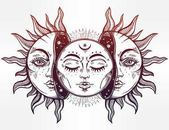 Beautiful Moon and Sun with faces. The sun is broken in half, the. Arte Indie, Face Sketch, Beautiful Moon, Sun Moon, Large Flowers, Free Vector Art, Tattoo Designs, Sketches, Watercolor