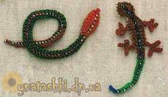 Вязаные аппликации ящерица, змея
