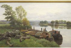 River Barge Landscape by W. Cooper - English Inspiration - Vintage Styles - Vintage One Kings Lane Artistic Visions, Furniture Arrangement, Oil On Canvas, Vintage Fashion, English, River, Landscape, Kings Lane, Painting