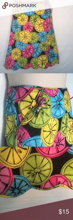 Elements G Colorful and Fun Fruit Slice Skirt Elements G Colorful and Fun Fruit Slice Skirt! This is the perfect skirt for summer! The 97% cotton and 3% spandex make it the perfect combination to stay nice and cool. It has a scalloped edge for a great accent. This skirt is unlined. ELEMENTS G Skirts