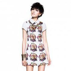 $10.89 Western Style Flat Collar Animal Print Short Sleeve Summer Dress For Women