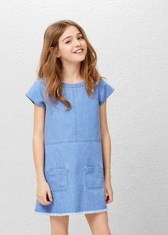 Vestido denim bolsillos | MANGO KIDS
