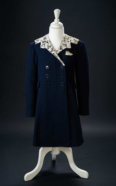 "Love, Shirley Temple, Collector's Book: 323 Blue Woolen Coat with Collar, Handkerchief, Beret Worn by Shirley in ""Little Miss Broadway"""