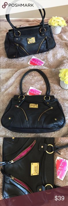 """EUC gorgeous NICOLE MILLER handbag in black EUC gorgeous NICOLE MILLER handbag in black faux leather with shiny gold brass hardware. Exterior is immaculate; a few pen marks on the interior pink lining. Approximate measurements are 14x9x4.5"""" with a 9"""" drop on the double handles. Comes from a smoke free home, thank you! Nicole Miller Bags Satchels"""