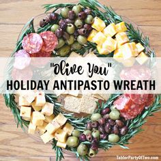 """""""Olive You"""" Holiday Antipasto Wreath - and 11 other delicious Christmas party appetizers!                                                                                                                                                                                 More"""