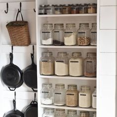 Hanging pans in the pantry. Hanging pans in the pantry. Hanging pans in the pantry. Hanging pans in Farm Kitchen Ideas, Farmhouse Kitchen Decor, Decorating Kitchen, Home Decor Kitchen, Kitchen Stuff, Farmhouse Shelving, Black Kitchen Decor, Kitchen Pantry Design, Country Kitchen Designs