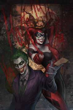 """jessidarkangel: """"longlivethebat-universe: """" Joker and Harley by jasric """" This is a great drawing of Harley Quinn and The Joker! """""""