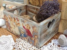 Wooden bears box Decoupage box Storage baby box rustic box Organizer box Wooden storage box Sweats box Vintage style box Christmas gift
