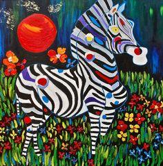 Magic Zebra Painting   Fine Art prints  Dorota Nowak