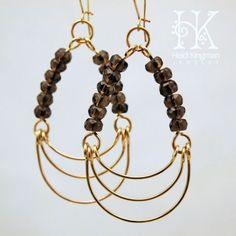 Smokey quartz and goldfill chandelier earrings by Heidi Kingman Jewelry - Picmia