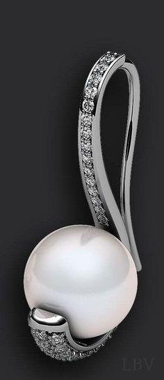 Pearl and Diamonds, earring | LBV ♥✤