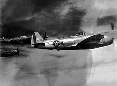 Brazilian air force P-47 flying in formation, Italy (1944)