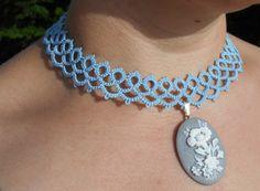 tatted choker tatted necklace lace choker lace by MamaTats on Etsy