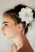 Pretty lace and feather 2 toned fascinator.  From New Zealand Weddings magazine issue 40.