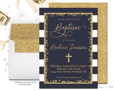 Navy and Gold Baptism Invitation, Baptism Invitation Boy, Boys Christening Invitation, Boys Baptism Invite, Gold Glitter, Blessing by ForeverYourPrints on Etsy https://www.etsy.com/listing/469099886/navy-and-gold-baptism-invitation-baptism