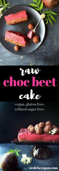 Raw choc beet cake. Vegan, refined sugar free, gluten free, oil free. From viedelavegan.com