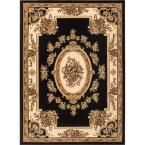 Timeless Le Petit Palais Black 6 ft. 7 in. x 9 ft. 3 in. Traditional Classical Area Rug