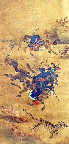Korean tiger hunt: Joseon (Chosun) dynasty painting (1392-1910)