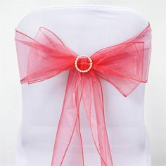 5 PCS Wholesale Coral Sheer Organza Chair Sashes Tie Bows Catering Wedding Party Decoration