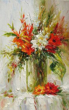 ORIGINAL Painting Oil Textured Palette knife Made to order Colorful Flowers Red White Vase Bouquet Big Home decorpro ART by Marchella