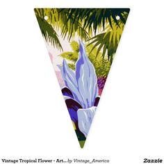 Vintage Tropical Flower - Art Deco Bunting Flags
