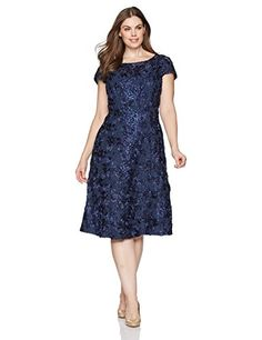 2ac64dbffef3 online shopping for Alex Evenings Alex Evenings Women's Plus-Size Tea Length  Rosette Dress Sequin Detail from top store. See new offer for Alex Evenings  ...