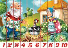 Puzzles recortables con motivos de cuentos. Estos puzzles son muy fáciles de hacer porque están acompañados de números. Mírame y aprenderás en Facebook Puzzles, Early Education, Baby Crafts, Toddler Preschool, Kids Learning, Fairy Tales, Wonderland, Kindergarten, Activities