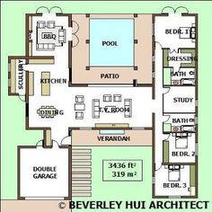 Image result for T shaped single storey floor plans