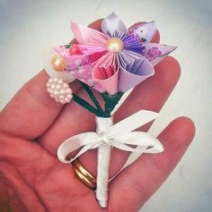 Amazing Paper Wedding Flowers for Alternative Weddings - Pink and Purple Paper Flower Buttonhole by Lily Belle Skkesakes Paper Flowers Craft, Paper Roses, Flower Crafts, Paper Crafts, Paper Bouquet Diy, Origami Flower Bouquet, Origami And Kirigami, Origami Paper, Bridesmaid Flowers
