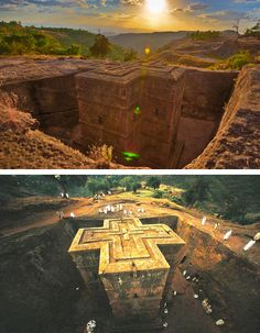 Lalibela, The Mysterious Wonder    The small town of Lalibela in Ethiopia is home to one of the world's most astounding sacred sites: eleven rock-hewn churches, each carved entirely out of a single block of granite with its roof at ground level. The church is literally anchored in the earth