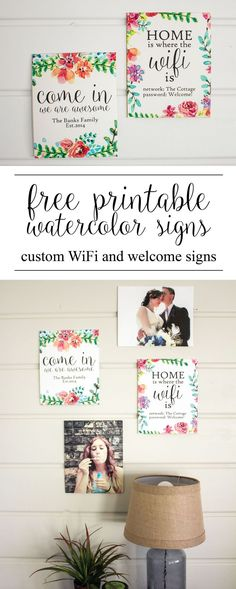Create your own custom watercolor WiFi and cheeky welcome sign with these free downloadable graphics!