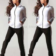 Femme 2Pcs Hauts Pants Hoodie Sweatshirt Pantalon Survetement Sport Suits  Blouse 027b628e665