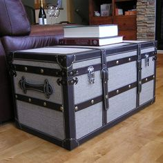 Decorative Vienna Wooden Steamer Trunk ($153) ❤ liked on Polyvore featuring home, home decor, small item storage, black, black home decor, wood storage trunk, black trunk, storage trunk and wood home decor