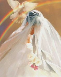The Bible compares the relationship of Jesus and His church to that of a Bride and Groom. We, the church of Jesus Christ are the Bride, and Jesus is the Bridegroom . Be prepared for that day! Braut Christi, Immaculée Conception, Revelation 19, Jesus Christus, Bride Of Christ, Prophetic Art, Jesus Art, God Jesus, Biblical Art