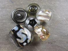 6 handmade black and brown glass beads by MERdestash on Etsy $13 #glass #lampwork #jewelry #beads #black