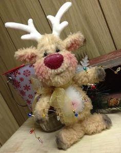 Primitive Raggedy Christmas Reindeer Snowman Doll Winter Snow Lights CUTE!! #Unbranded #Christmas