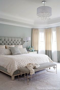 gray, white, and tan bedroom. Great two tone curtains and upholstered headboard! Love the softness of the neutral colors gray, white, and tan bedroom. Great two tone curtains and upholstered… Tan Bedroom, Feminine Bedroom, Master Bedroom Design, Dream Bedroom, Home Bedroom, Bedroom Designs, Pretty Bedroom, Serene Bedroom, Bedroom Curtains