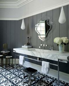 Super glam, probably too busy for 5' x 9' bathroom, maybe good colors and wall treatment for master bedroom