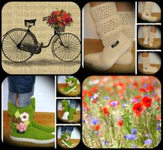 www.uki-crafts.ro Spring Boots, Spring And Fall, Crochet Boots, Summer Flowers, Crochet Flowers, Handmade, Crafts, Booties Crochet, Crocheted Flowers