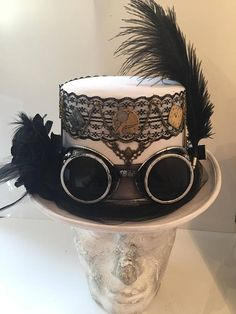 Steampunk White And Black Lace Wedding Top Hat Hat With