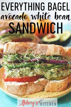 This Vegan Everything Bagel Avocado White Bean Sandwich is a great back to school or college dorm room lunch that's packed with plant based protein! #abbeyskitchen #everythingbagelspice #healthylunch #lunchtime #sandwich #vegansandwich #veganlunch