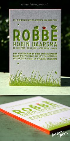 letterpers_letterpress_geboortekaartje_robbe_oranje_groen_fluor_neon_vogeltjes