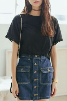 Plain Button Fly Pocket Front Denim A-Line Skirt