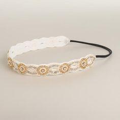 One of my favorite discoveries at WorldMarket.com: Ivory Rhinestone Suede Headband