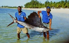 catch of the day - young boys holding a fish near the beach, Mozambique Island, East Africa
