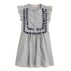 Who knew!!!??? you can get the same stuff at J.Crew.com in size 16 AND free shipping AND its on sale on line!  Im a size 6 adult and just bought this for $70 in the store.  $48 on line   And yes, its a top for me NOT a dress -- with cute sandals and boyfriend jeans and the tailor is ditching the ruffle sleeves.  J.Crew - Girls' stripe pom-pom dress
